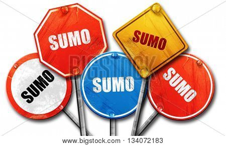 sumo sign background, 3D rendering, rough street sign collection