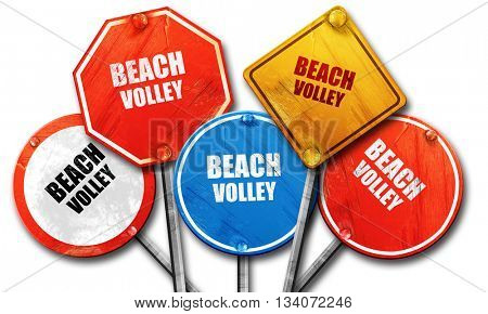 beach volley sign, 3D rendering, rough street sign collection