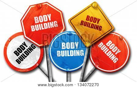 bodybuilding sign background, 3D rendering, rough street sign co