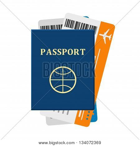 Passport with tickets isolated on white background. Passport and tickets travel, tourism business vacation, trip pass tourist flight symbol. Holiday passport and tickets in flat, vocation concept vector.