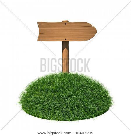 Letrero de madera en la tierra de la hierba