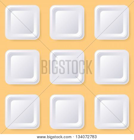 Retro vector blank white square buttons with shadows