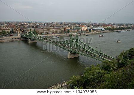 Budapest Hungary - April 10 2016: Freedom Bridge in Budapest Hungary over Danube river