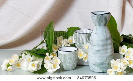 Decanter and cups of sake (Tokkuri and Chocó)