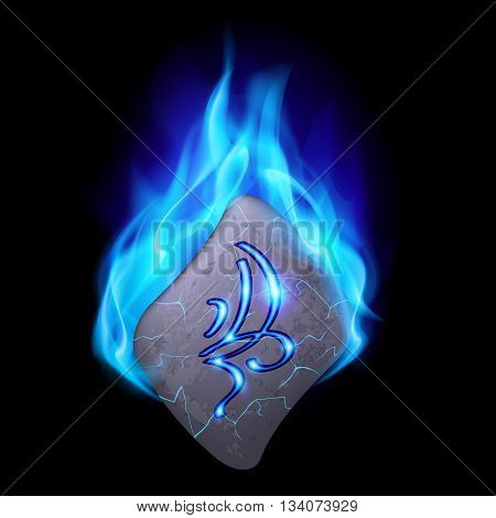 Secret bend stone with magic rune in blue flame