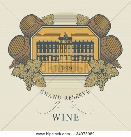 Vintage wine label with text Grand Reserve, vector illustration