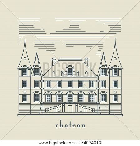 Vintage building with text Chateau,  vector illustration