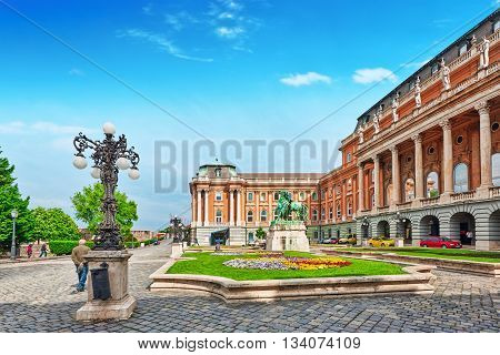 Budapest, Hungary-may 03, 2016: Budapest Royal Castle -courtyard Of The Royal Palace In Budapest. Hu