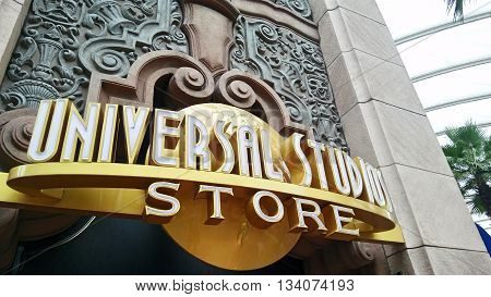 SINGAPORE JUN 04 2016: Close up of Universal Studio Store at Universal Studios. Universal Studios Singapore is theme park located within Resorts World Sentosa Singapore.