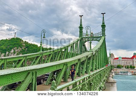 Budapest, Hungary-may 06, 2016: Liberty  Bridge In  Budapest,bridge Connecting Buda And Pest Across