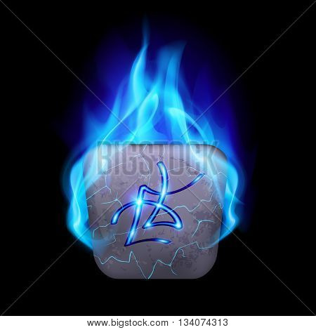 Ancient quadrangular stone with magic rune in blue flame