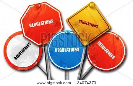 regulations, 3D rendering, rough street sign collection