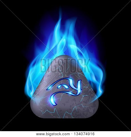 Secret triangular stone with magic rune in blue flame
