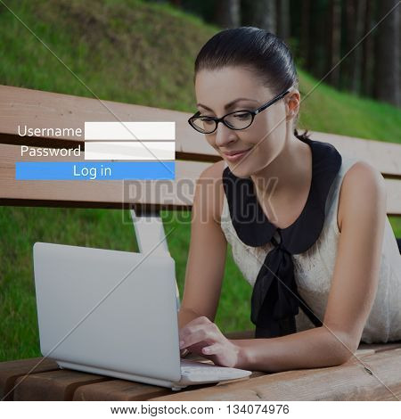 Account Registration Concept - Girl Using Laptop Lying On Bench In Park