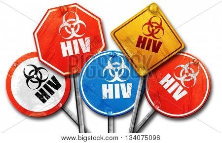 Aids virus concept background, 3D rendering, rough street sign c