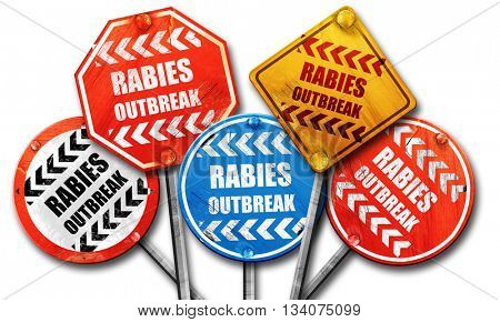 Rabies virus concept background, 3D rendering, rough street sign