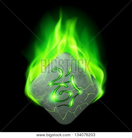 Mysterious diamond-shaped stone with magic rune in green flame