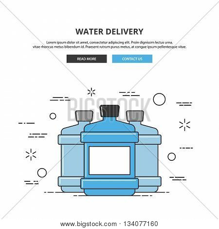 Water delivery web banner. Thin line vector illustration. Premium quality