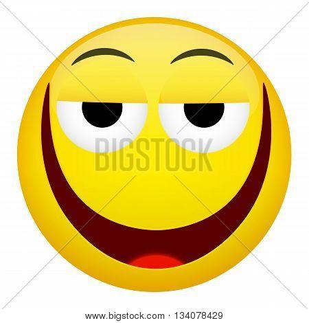 Drunken tired smile laugh emotion. Emoji illustration.
