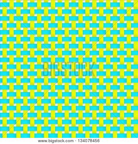 Interlacing paper fabric tapes with drop shadows and bending elements. Yellow and blue color. Seamless texture. Seamless pattern. Geometric background.
