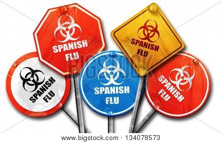 Spanish flu concept background, 3D rendering, rough street sign