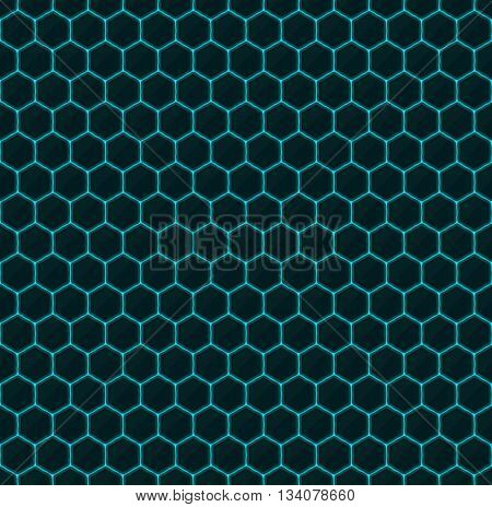 Hexagons of black stone with blue streaks of energy. Seamless texture. Technology seamless pattern. Geometric dark background.