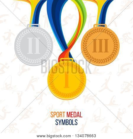 Vector Gold medal, silver medal, bronze medal against the background of sports icons, set of medals. a symbol of victory. Sports awards