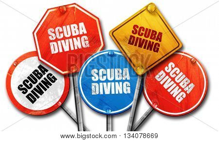 scuba diving, 3D rendering, rough street sign collection