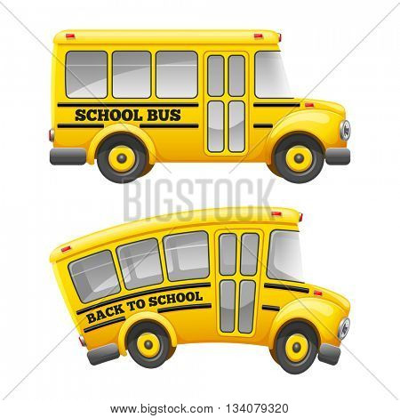 Cute cartoon school bus. Isolated on white background. Back to school concept. Vector illustration.
