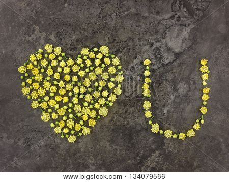 Love You symbols made of small linden flowers on dark background. Flat lay top view