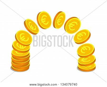 Gold coins with euro signs are flying from one stack to another. Money operations and finance concept