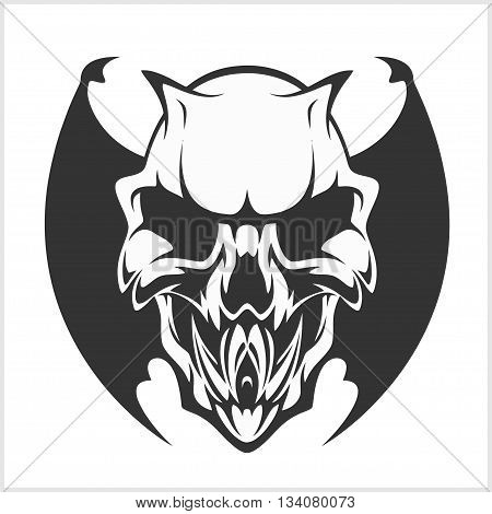 Fierce Gargoyle-Fantasy Winged Beast - isolated on white
