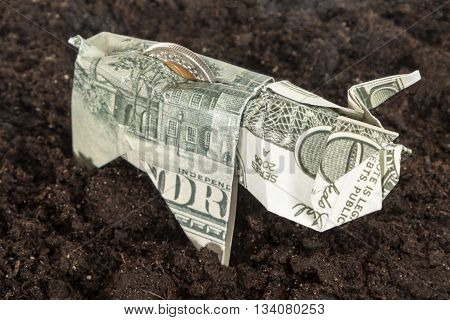 Piggy bank origami made of dollar bills with coins inside on the ground