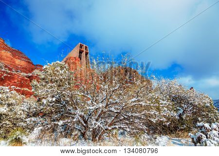 Church of Holy Cross in Sedona. Arizona in winter