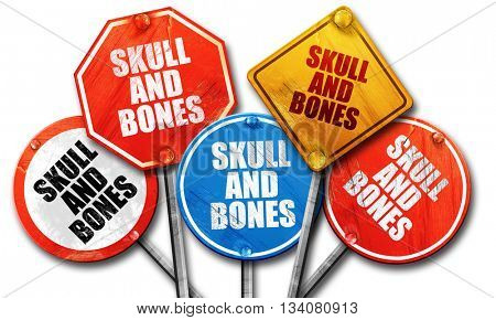 skull and bones, 3D rendering, rough street sign collection