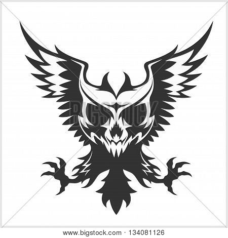 Black eagle and skull - isolated on white