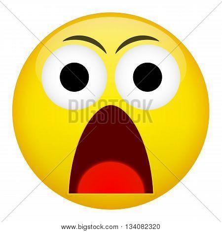 Fear surprise frown criminal evil emotion. Emoji emoticon illustration.