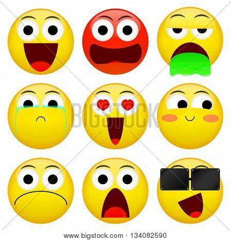 Emoji smile emoticon pack. Smile angry barf crying love embarrassment not good shock sunglasses emotion. Illustration.