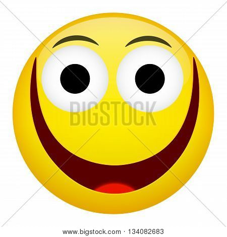 Broad smile laugh fun emotion. Emoji illustration.