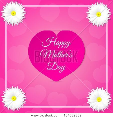 Pink paper heart with congratulations Happy Mother's DAY inserted in the notch of the paper sheet with flowers and white frame. Illustration background.