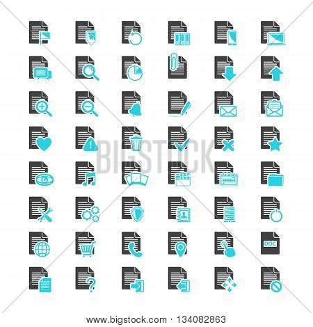 File icon vector set.Vector big set Document File blue and black icons isolated on a white background in flat style