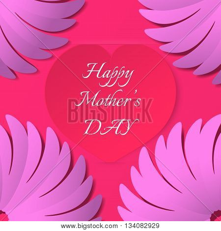 Red paper heart with congratulations Happy Mother's DAY inserted in the notch of the paper sheet with flowers. Illustration background.