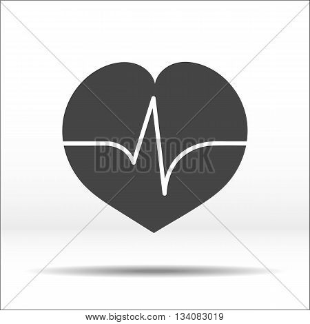 Grey heart with pulse cardiogram on it. White-black illustration and icon.