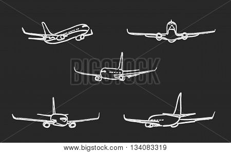 set of outline chalk airplanes for Your design. vector illustration