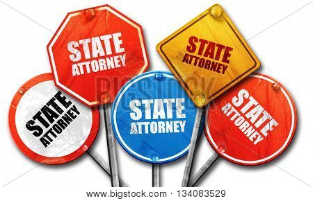 state attorney, 3D rendering, rough street sign collection