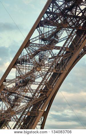 Closeup detail of Eiffel Tower