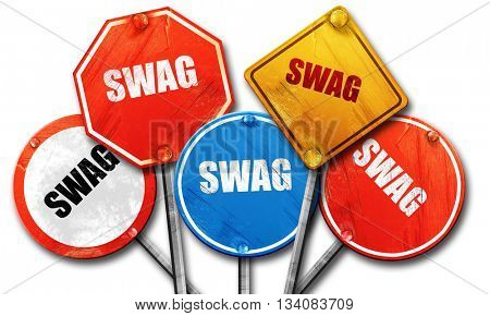 swag internet slang, 3D rendering, rough street sign collection