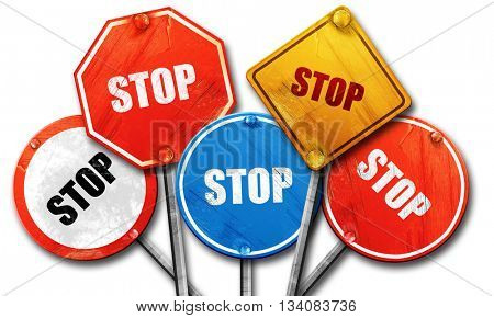 stop, 3D rendering, rough street sign collection