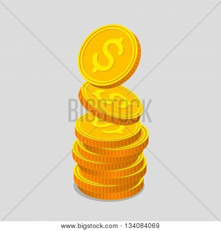 Stack of gold coins with dollar signs. Coins is falling from the top so stack is increasing. Income concept