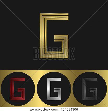 G Letter logo. Metal business emblem. Golden silver red and black colors
